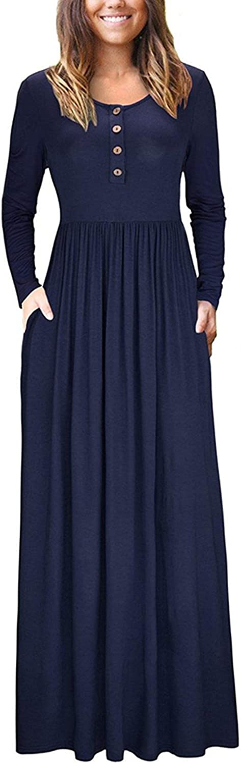 Irene inevent Women's Short&Long Sleeve Maxi Dress with Pockets Plain Loose Swing Casual Floor Length Long Dresses