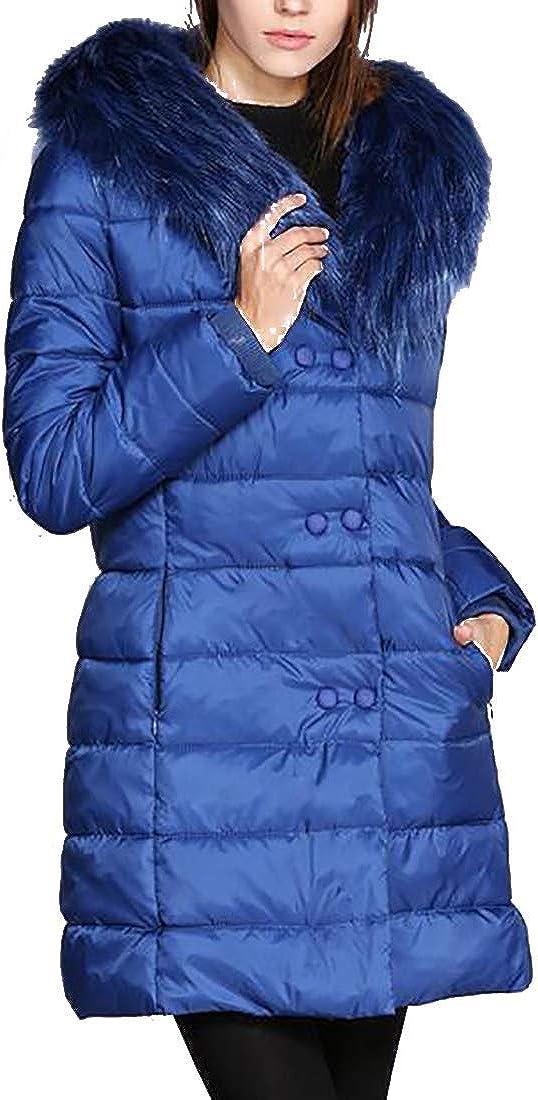 Aiweijia Women's Coat Cotton Jackets Mid Length V-Neck Warm Windbreaker