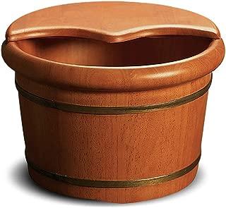 Qing MEI Wooden Barrel Foot Bath Barrel Foot Bath Barrel Foot Barrel Household Small Tub Soaking Basin Foot Washing Barrel with Lid A++