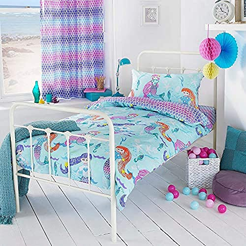 """Riva Paoletti Kids Mermaid Toddler Duvet Cover Set - Multicolour Blue - Reversible Underwater Mermaid Design - 1 X Pillowcase Included - Polycotton - Machine Washable - 120 X 150Cm (47"""" X 59"""" Inches)"""