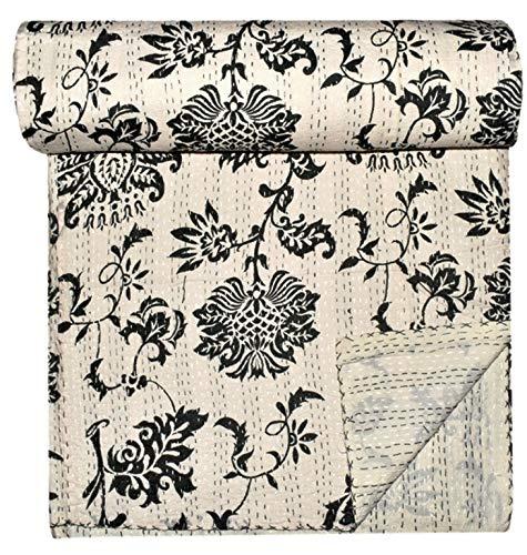 GANESHAM Ropa de cama india de lujo floral para decoración del hogar, hecha a mano Kantha Vintage Stich tamaño King decorativo Kantha colcha de loto estampado bohemio ropa de cama (90 x 108) pulgadas