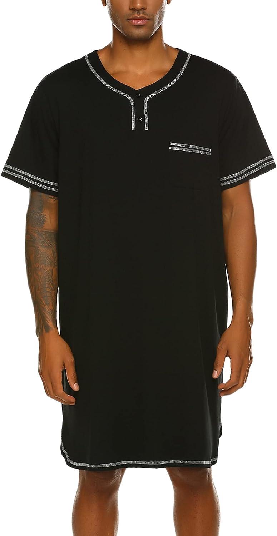 Ekouaer Men's Nightshirt, Cotton Nightwear Comfy Big&Tall V Neck Short Sleeve Soft Loose Pajama Sleep Shirt