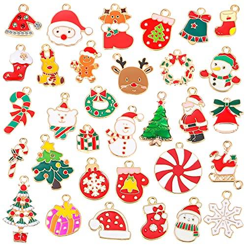 64 Encantos de Navidad Dijes de Esmalte Chapado en Oro Colgantes de Navidad Encantos de Pendientes de Copo de Nieve Collar de Árbol de Navidad para Fabricación de Joyas Pulsera Scrapbooking