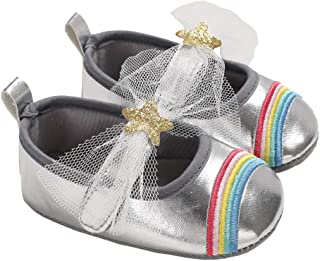 lakiolins Baby Girls Sparkly Stars Rainbow Mary Janes Wedding Princess Dress Crib Shoes