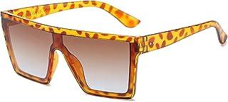 Fashion Flat Top Sunglasses Square Cool One-Piece Design Gradient Sunglasses Sunglasses