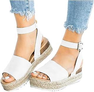 ec8087af8 Athlefit Women's Platform Sandals Espadrille Wedge Ankle Strap Studded Open  Toe Sandals
