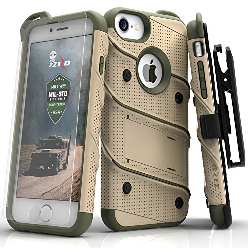 iPhone 8 Case/iPhone 7 Case by Zizo [Bolt Series] w/ [iPhone 8 Screen Protector ] Kickstand [12 ft. Military Grade Drop Tested] Holster Belt Clip