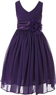 Bow Dream Junior Bridesmaids V-Neckline Chiffon Flower Girl Dress