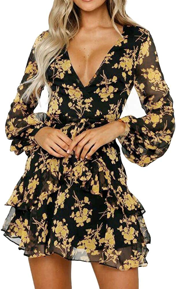 Womens Challenge the lowest price Floral Leaf Printed Long Charlotte Mall Sleeve Mini Beach Dress D Casual