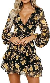 Mini Vestido con Cuello de Pico para Mujer, Vestido de Fiesta con Estampado de Leopardo con Volantes y Manga de Trompeta Abrigo Vestido de cóctel Clubwear