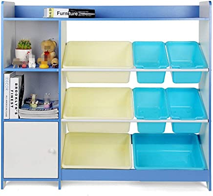 Ljleey-HO Toy storage rack Children Finishing Storage Rack For Organizing Toy Storage Baby Kids Toys Dog Toys Baby Clothing Children Books  Color Blue  Size Free size