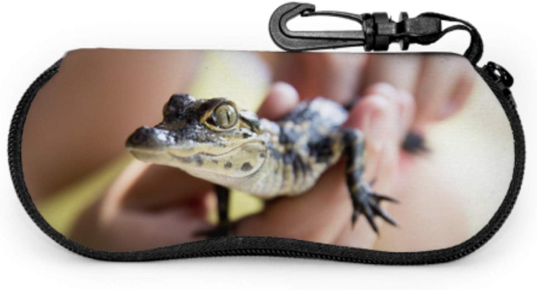 Schnappi Das Kleine Krokodil Childrens Sunglass Case Adult Sunglass Case Light Portable Neoprene Zipper Soft Case Eyeglass Case Girls