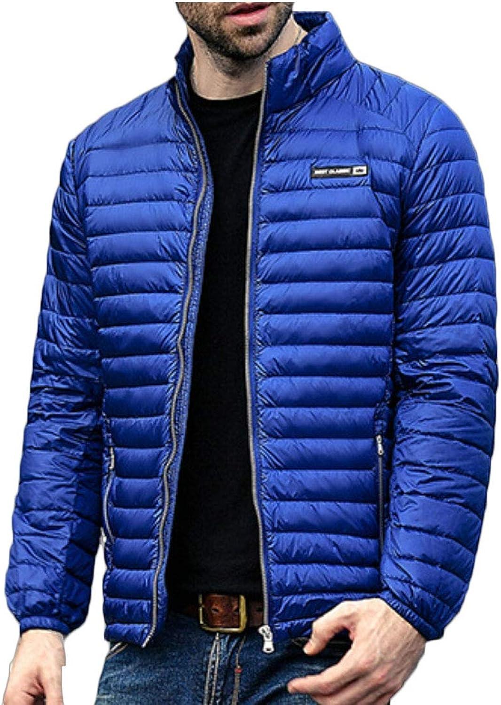 LEISHOP Mens Long Sleeves Packable Puffer Lightweight Stand Collar Down Jacket