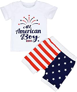 Baby Boy Outfits Summer American Flag Pants American Boy Letter Print Tops Clothing Set