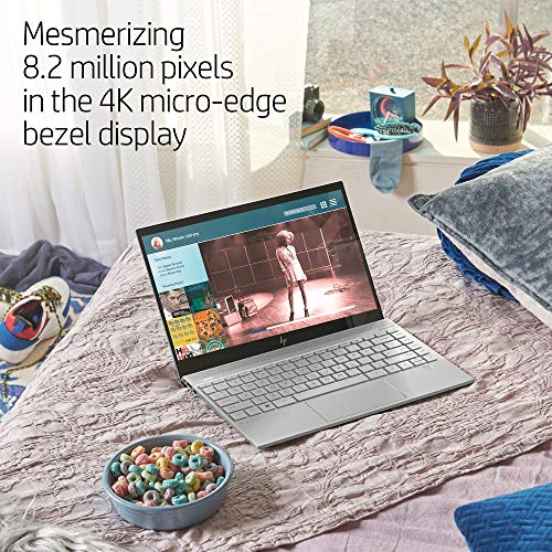 Product Image 1: HP ENVY 13-13.99 Inches Thin Laptop, Fingerprint Reader, 4K Touchscreen, Intel Core i7-8565U, NVIDIA GeForce MX250 Graphics, 16GB SDRAM, 512GB SSD, Windows 10 Home (13-aq0044nr, Natural Silver)