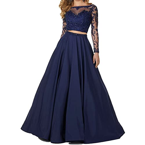 3770d8a2db Little Star Women's 2 Piece Prom Dresses Long Sleeve Evening Party Ball  Gowns