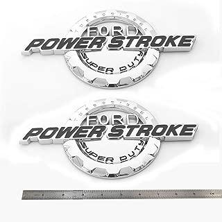 2pcs OEM Power Stroke Super Duty Side Fender Emblems 3D Nameplate 6.0L 6.4L 6.7L 7.3L Powerstroke Superduty Badge Replacement for F150 F250 F350 Chrome Black