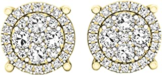 yellow gold diamond flower earrings