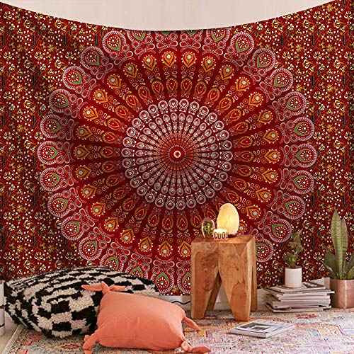 KHKJ India Mandala Tapiz Colgante de Pared Decoración Tapices de Tela de Pared Psicodélico Hippie Playa Tapiz Grande Mandala Alfombra de Pared A22 130x150cm