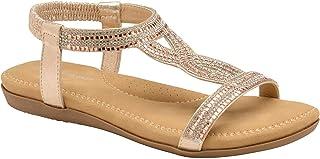 Dunlop Ladies Women's Summer Folk Round Clip Toe Sandals Beach Flip Flops Flat Elastic T-Strap Post Thong Sandals Shoes