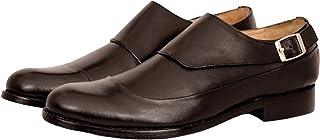 Mens Buckle Monk Shoe Formal Shoe in Black & Tan - Sizes 6-12
