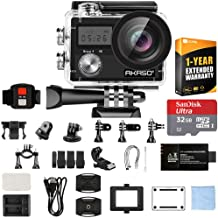 AKASO Brave 4 Waterproof Sports Action Camera Full HD 4K 20MP with WiFi (Black) SY0003-USFTE with 32GB microSDHC Memory Card and 1 Year Extended Warranty