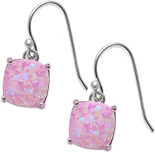 Cushion Shape Lab Created Opal Dangle Style .925 Sterling Silver Earrings Colors Available
