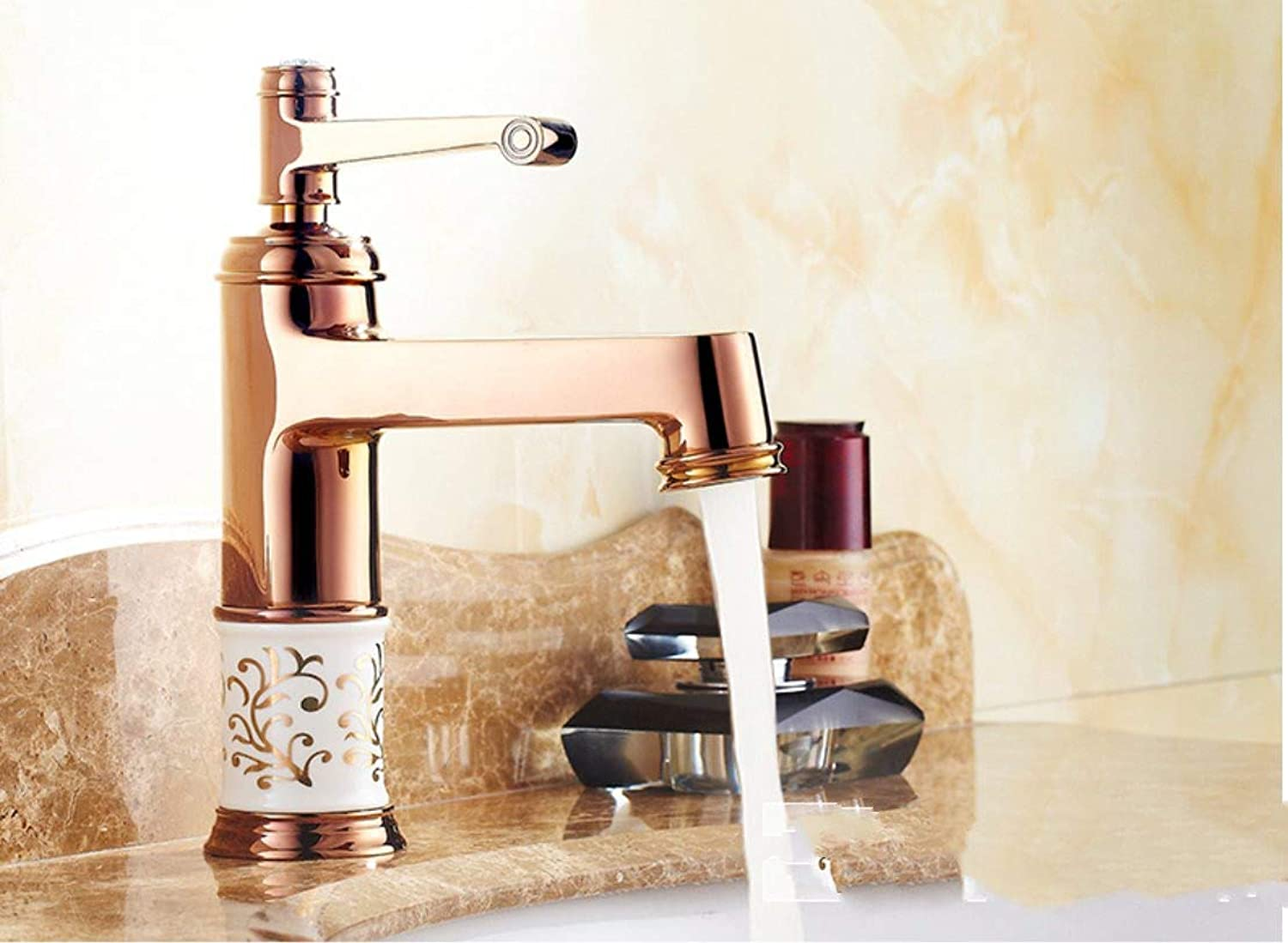 redOOY Bathroom Sink Taps European Copper Basin Faucet bluee And White Porcelain gold Antique pink gold Faucet Hot And Cold Water Faucet European bluee And White Porcelain Faucet pink gold