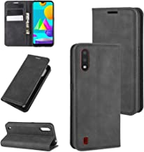 For Samsung Galaxy M01 Retro-skin Business Magnetic Suction Leather Case with Holder & Card Slots & Wallet Waterproof (Color : Black)