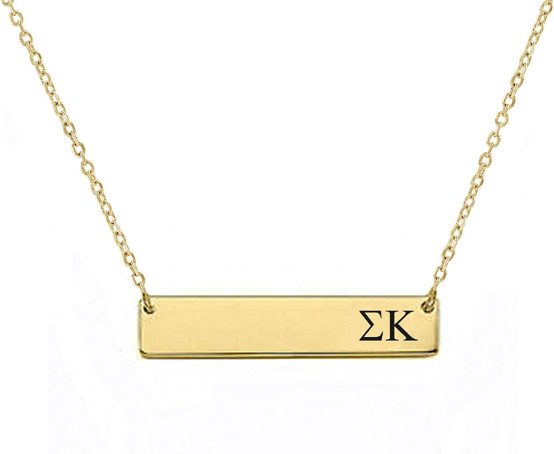 Sigma Kappa Sorority Bar Necklace Greek Sorority Letters with Adjustable Chain