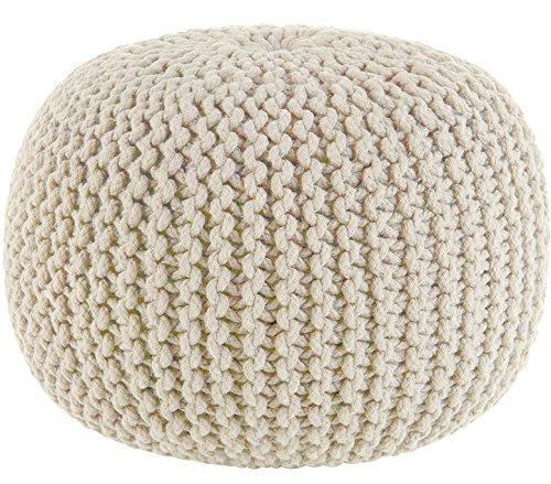Puf tejido a mano de Sweet Needle, otomana para el suelo, cuerda 100 % de algodón trenzado, hecho y cosido a mano, 50 cm de diámetro x 35 cm de alto