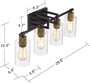 Zeyu Bathroom Vanity Light, 4-Light Vintage Wall Mount Vanity Light 27 Inch, Black and Antique Gold Finish with Clear Glass Shade, 1102-4 BK+AG