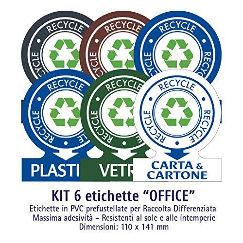 ATK - Etichette autoadesive in PVC per la gestione dei rifiuti - KIT OFFICE (MEDIO) - 6 etichette assortite 110x141 mm