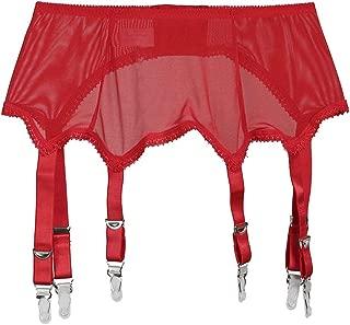 Frecoccialo Damen Perspektive Strapshalter Sexy Spitze Oberschenkel Strapsstrümpfe Strapsgürtel Dessous Nachtwäsche (Schwarz/Weiß/Rot, S-2XL)