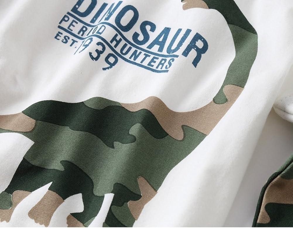 VYU Boys Long Sleeve Dinosaur T Shirt Kids Cotton tee Tops Size 2-8