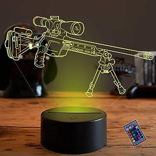 Illusion Optique 3D Fusil de Sniper Nuit Lampe 16 Couleurs Changeantes Puissance USB Télécommande Contact Switch Lampe Déc...