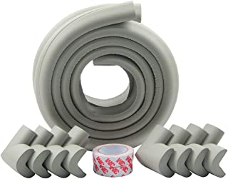 Winthome Baby Safety Protectors & Furniture Edge and Corner Bumpers Thick Anti-Collision Cushion Set 13.2ft Edge and 8 Taped Corner Guards (Gray)