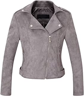 Chartou Women's Stylish Notched Collar Oblique Zip Suede Leather Moto Jacket