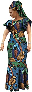 Afripride African Dresses for Women Ankara Print Lantern Sleeves Ankle Length Female Dress AA722552