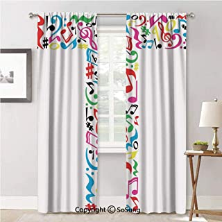 RWNFA Drape for Dining Room,Uppercase T Letter Colorful Sheet Music Elements Font Alphabet Multicolor,Elegant Soft Durable Curtain for Door,42x84inch Each,2 Panels
