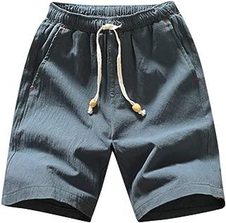 IHGTZS Shorts for Men, Summer Men Casual Short Pants Jogger Pants Fitness Trousers Linen Beach Pants