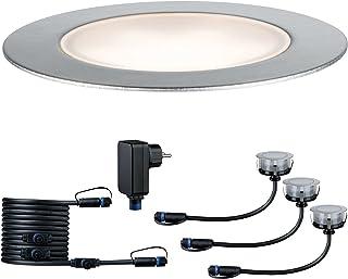 Paulmann 93692 Outdoor Plug&Shine Kit de base Floor extérieur, IP65, 3000K, 3x1W, 24V, 70mm, Argent inoxydable/Plastique