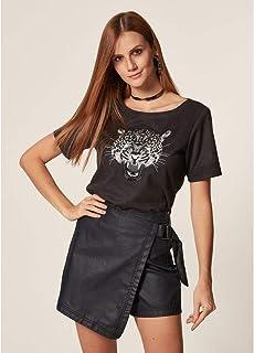 T-Shirt Suede Com Bordado Onça