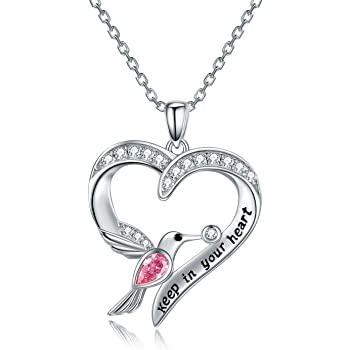 CHENGHONG Hummingbird Necklace 925 Sterling Silver Hummingbird Jewelry for Women Hummingbird Gifts for Mom Heart Pendant Inspiration Necklace Bird Animal Jewelry Gift for Women