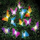 UxradG Solar-Lichterkette, Schmetterlings-Faseroptik, für Garten, Terrasse, Außenbereich, wetterfest, für Zuhause, Hochzeit, Café, LED-Lichterkette mit 12 LEDs