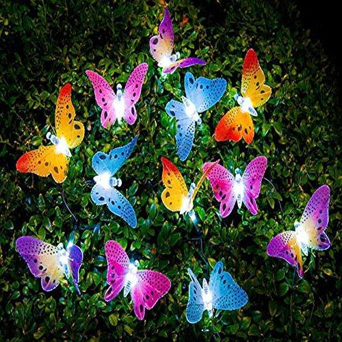 UxradG - Guirnalda de luces solares, 12 luces LED de fibra de mariposa, para jardín, patio, exterior, impermeable, para el aire libre, para casas, bodas, cafeterías, luces LED de hadas, 12 unidades