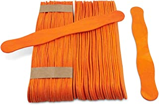 """Wooden Orange 8"""" Fan Handles, Wedding Programs, Paint Mixing, Pack 100, Jumbo Craft Popsicle Sticks for Auction Bid Paddles, Wooden Wavy Flat Stems for Any DIY Crafting Supplies Kit, by Woodpeckers"""
