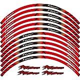 12 x Borde de grueso Etiqueta externa de la rotura de la rotura de la raya de las calcomanías de la rueda ajustada para Hayabusa GSXR1300 GSX1300R GSXR1300R (Color : 1)