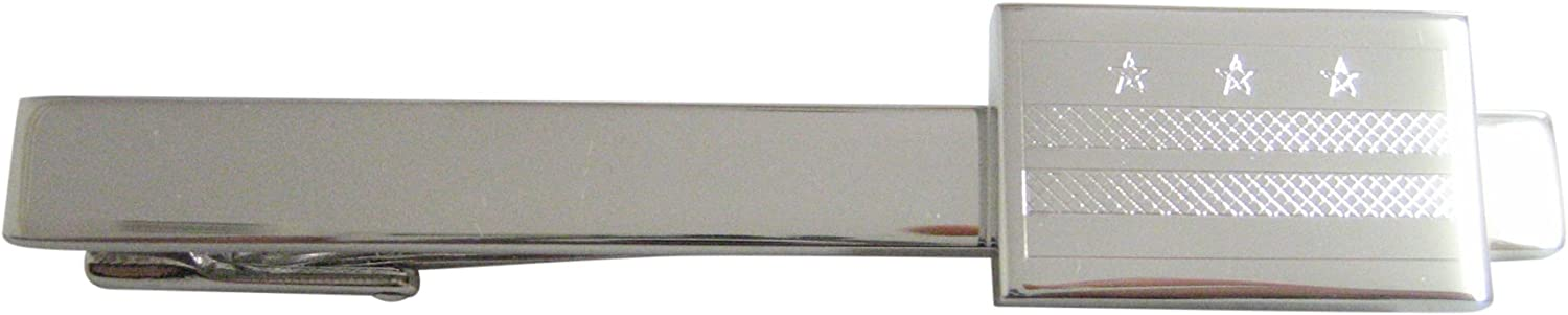 Silver Toned Indefinitely Department store Etched Washington DC Flag Clip Square Tie