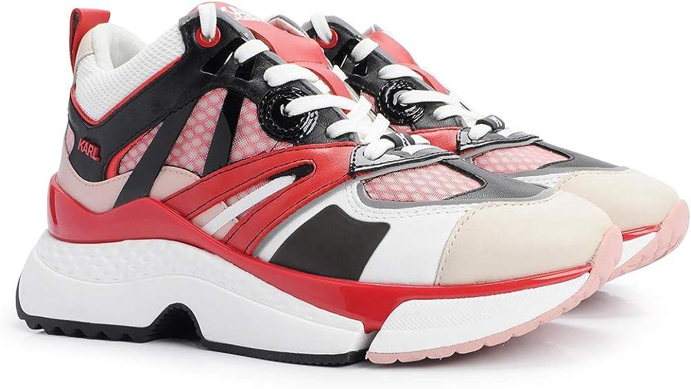 Karl lagerfeld sport aventure,scarpe sneakers per donna,tomaia in pelle con intarsi in tessuto,numero 37 eu KL61635